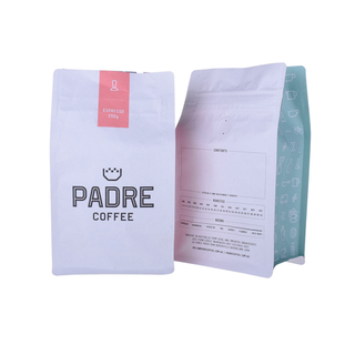 Heat Seal Custom Compostable Flat Bottom Coffee Bag With Tin Tie