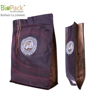Resealable Recycle Flap Bottom Coffee Bean Packing Bag From Cornstarch with one way valves from China