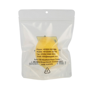 Custom Recyclable Clear Transparent Stand Up Packaging Ziplock Bag