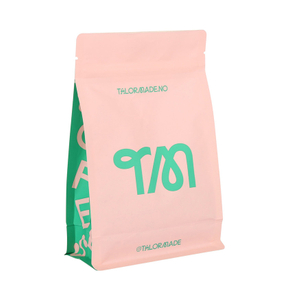 Flat Bottom Food Top Kraft Paper Compostable Packing 250g Coffee Bag Packaging with Zipper Valve