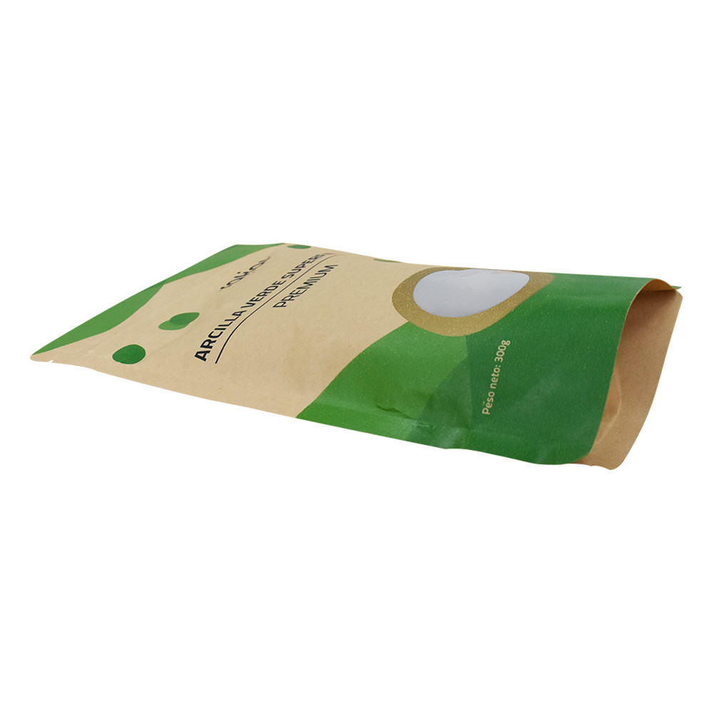 Reusable Food Grade Kraft Bio Degradable Stand Up Pouch Zipper Packaging With Window