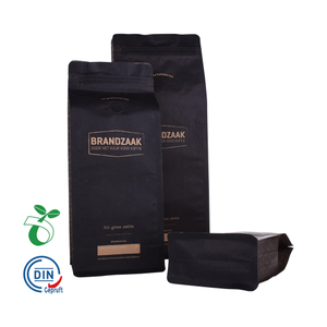 Flat Bottom Biodegradable Customized Kraft Paper Coffee Bag