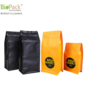Compostable Cornstrach Plastic Square Bottom Stand Up Bag Custom Prirnting With Ziplock On Top