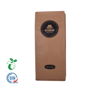 Wholesale kraft bread paper flat bottom pouch 12oz coffee packaging bag zip lock plain bags with valve