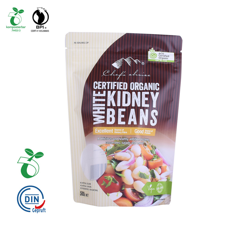 Custom Printed Biodegradable and Compostable PLA Zipper Food Packaging Pouch Kraft Paper Bag for Coffee Tea nut food