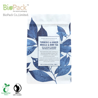 Plastic Free Organic Flap Bottom Kraft Tea Packaging With Custom Printing