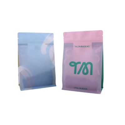 100% Bio Degradable 250g Flat Bottom Coffee Beans Kraft Packaging One-way Valve Bag With Printing Wholesale
