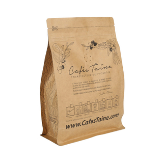 Laminated Material Kraft Paper Coffee Ziplock Bag Flat Bottom