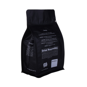 Food Grade Compostable Flat Bottom Zipper Blue Coffee Bag With Valve