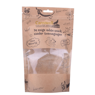 Natural Kraft Pet Food Window Doypack Compostable Zipper Custom Flexible Bag