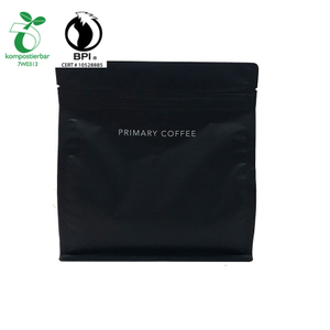 custom printed Matt Black Coffee packaging bag in 100% cornstarch from China