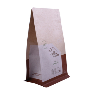 Custom Printed PLA Kraft Paper Bags Coffee Packaging Block Pouches