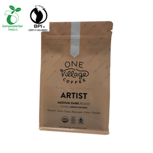 OEM ODM Accepted Printed White Kraft Compostable Cornstarch Flap Bottom Bag from China