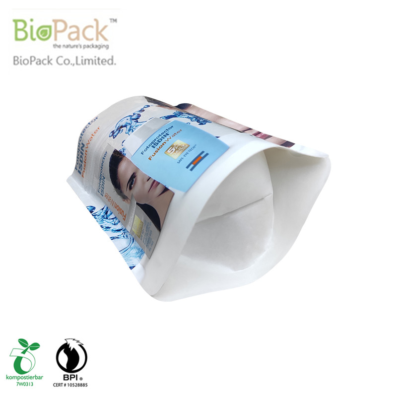 Green recyclable plant base plastic bottom gusset pouch with printing From China