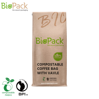 Custom Box Bottom Biodegradable Coffee Bag with One Way Gassing Valve Near Me