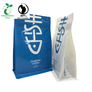 New Release Wholesale Rerecycled Kraft Paper Bag with Cornstarch Plastic Flap bottom Coffe Bag with zipper and valve from China