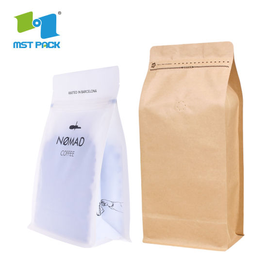 High End Custom Laminated Material PLA Foil Lined 1lb 1kg Standing Packaging Block Bottom Coffee Valve Bags
