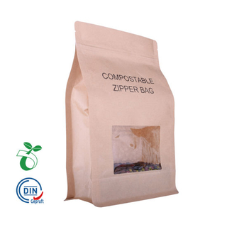 250g Kraft Paper Laminated PLA Biodegradable Food Packaging Compostable Eco Coffee Bag