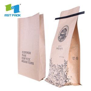 Wholesale Custom Logo Print Flat Bottom Biodegradable Foil Lined Compostable Brown Kraft Paper Tin Tie Coffee Bag with Ziplock