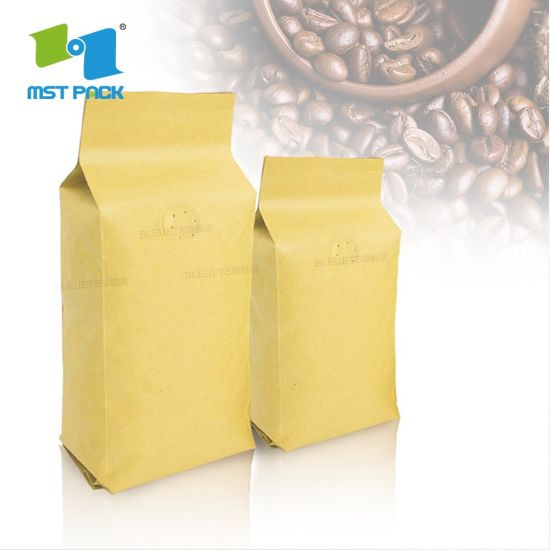 FDA Certified Custom Printed Manufacturer Recycle Craft Paper Aluminium Foil Food Grade Ziplock One Way Valve Biodegradable Coffee Packing Bags