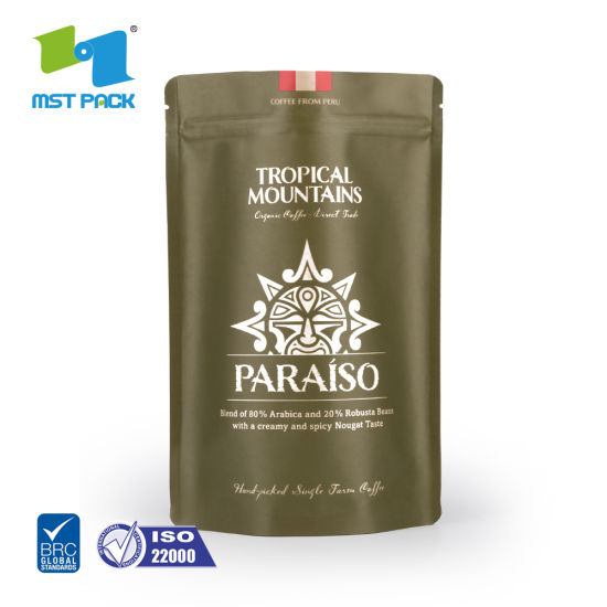 Custom Printed Eco Friendly Biodegradable Compostable Paper Coffee Bag